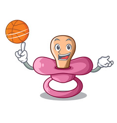 With basketball character childrens pacifiers for vector