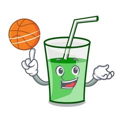 with basketball green smoothie character cartoon vector image