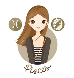 Woman With Pisces Zodiac Sign vector