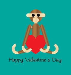 Wooden monkey valentine with heart vector