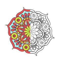 Zentangle stylized elegant color arabic Mandala vector image