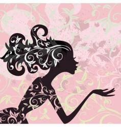 glamour girl hair ornament vector image