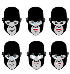 Gorilla emotions Set expressions avatar monkey vector image vector image