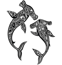 hammer sharks tattoo in maori tribal style vector image vector image