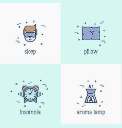insomnia and sleep thin line icons vector image