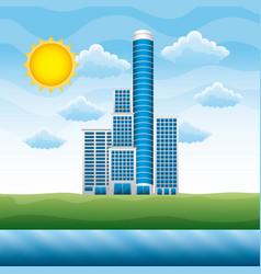 landscape with building cloud sun river vector image