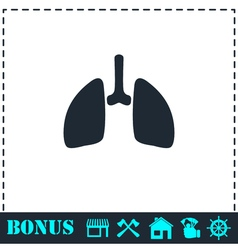 Lungs icon flat vector image vector image