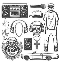 vintage rap music elements collection vector image vector image