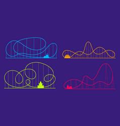 amusement park roller coaster color silhouettes vector image
