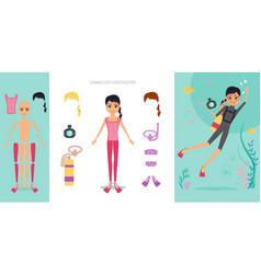 aqualunger character constructor set cartoon vector image vector image