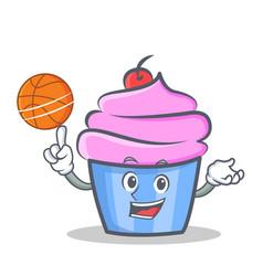 basketball cupcake character cartoon style vector image vector image