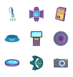 Camera accessories icons set cartoon style vector image