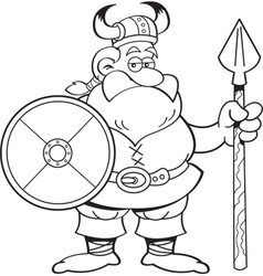 Cartoon viking holding a spear and a shield vector image vector image