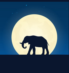 elephant silhouette banner with moon on the night vector image