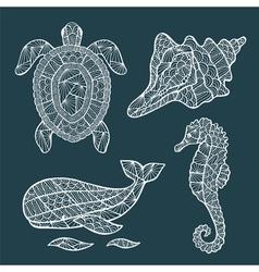 Handmade stylized set of zentangle vector image
