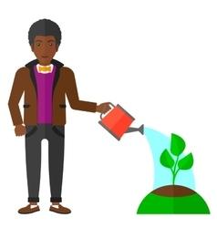 Man watering tree vector image vector image