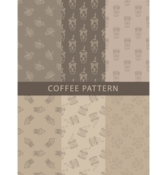 Mosaic set of seamless coffee themed patterns vector