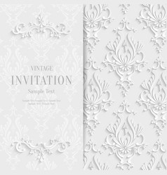 White floral 3d christmas and invitation vector