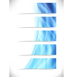 Blue bright flare wave web header footer set vector image vector image