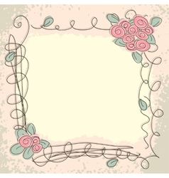 Greeting card with decorative floral elements vector image vector image
