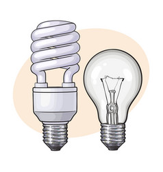 Modern fluorescent energy saving and traditional vector