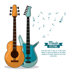 poster music festival in white background with vector image vector image