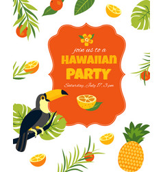 tropical hawaiian posterwith toucan party template vector image
