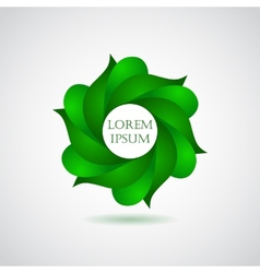 Business emblem icon of green leaves vector image