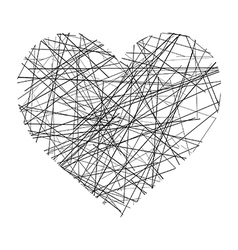 heart made of black lines vector image