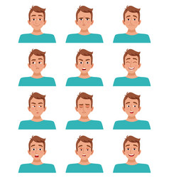 male facial expressions set vector image