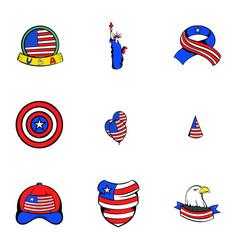 usa icons set cartoon style vector image