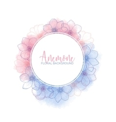Watercolor wreath with flower anemones Rose Quartz vector image vector image