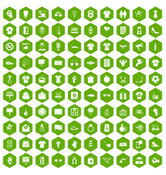 100 t-shirt icons hexagon green vector