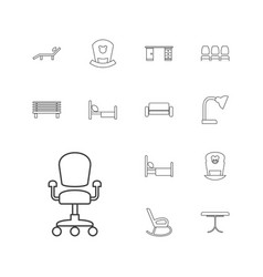 13 furniture icons vector