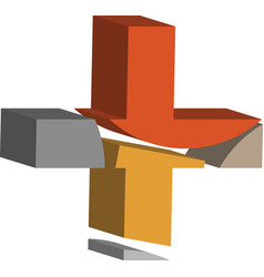 3d cross symbol vector image