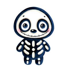 A cute cartoon halloween smiling skeleton vector