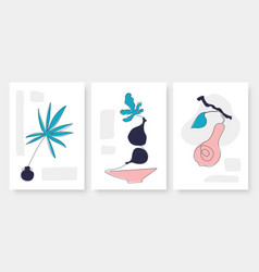 abstract fruit and leaf set line drawing template vector image
