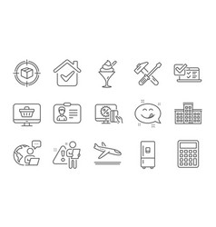 Arrivals plane online survey and ice cream icons vector