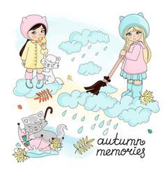 autumn memories set vector image