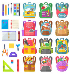 Backpack and chancery sticker school sign vector