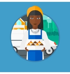 Baker delivering cakes vector image