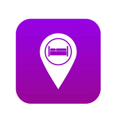 Bed hostel hotel sign icon digital purple vector