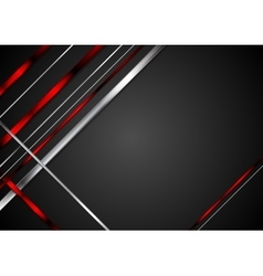 Black background with red and metallic stripes vector image