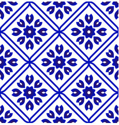 blue and white ceramic tile pattern vector image