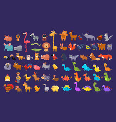 cartoon collection of funny animals colorful vector image