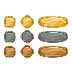 Cartoon metallic buttons set vector image