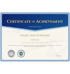 Certificate Achievement template blue theme vector