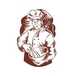 Chef cook baker holding mixing bowl vector