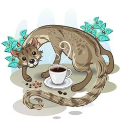 Civet coffee kopi luwak vector