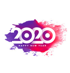 colorful 2020 happy new year watercolor vector image